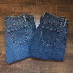 2 LEVI's 501 Button Fly Straight Leg Jeans Unisex